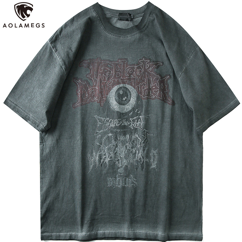 Aolamegs T Shirt Men Vintage Distressed Printed T Shirt Men O-Neck Tee Shirt Hip Hop Style Rock Hipster Casual Streetwear Summer
