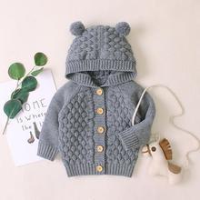 Свитер с ушками кролика для новорожденных девочек и мальчиков; зимняя куртка; теплое пальто; вязаная верхняя одежда; свитер с капюшоном; свитера на пуговицах с длинными рукавами