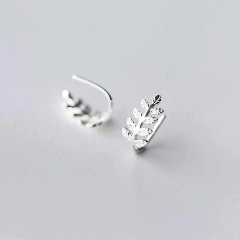 Colusiwei haute qualité 100% 925 argent Sterling Simple arbre feuilles oreilles Clip pour les femmes Vintage en argent Sterling bijoux cadeau
