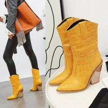 Square High Heels Fashion Boots Women Yellow Pointed Toe Sexy Mid Calf Knight Boots Plus Size Ladies Casual Shoes(China)