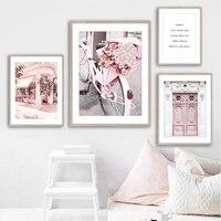Rosa Vintage Auto Parfüm Blume Reed Tür Wand Kunst Leinwand Malerei Nordic Poster Und Drucke Wand Bilder Für Wohnzimmer decor