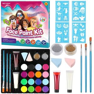 Halloween Face Paint Kit 16 Colors Halloween Costume Face Painting Kit Safe Face & Body Paint For Kids Teens Toddlers Adults