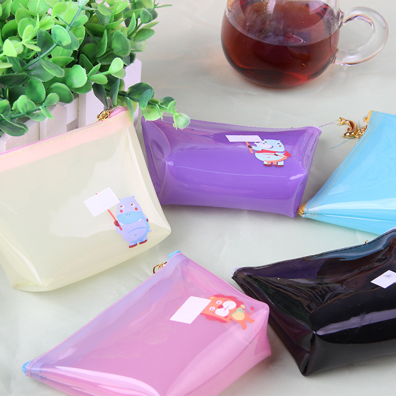 Love Odd Japanese Korean No Deformation Candy-Colored Transparent Purse Cute Simple Jelly Glue Storgage Bag Coin Bag