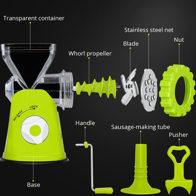DEKO Manual Meat Grinder Multifunctional Vegetable Chopper Blender Mincer Enema Machine Household Kitchen Tools 5