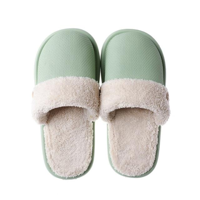 JIANBUDAN Plush warm Home flat slippers Lightweight soft comfortable winter slippers Women's cotton shoes Indoor plush slippers 5