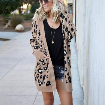 Long Leopard Cardigan Women'S Long Sleeve Autumn Winter Sweaters Fashion 2019