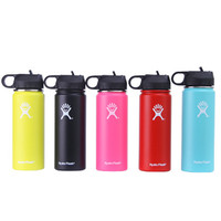 Hot!32oz/40oz Hydro Vacuum Insulated Flask Stainless Steel Water Bottle Wide Mouth with Travel Portable Sport/Straw/Flex cap