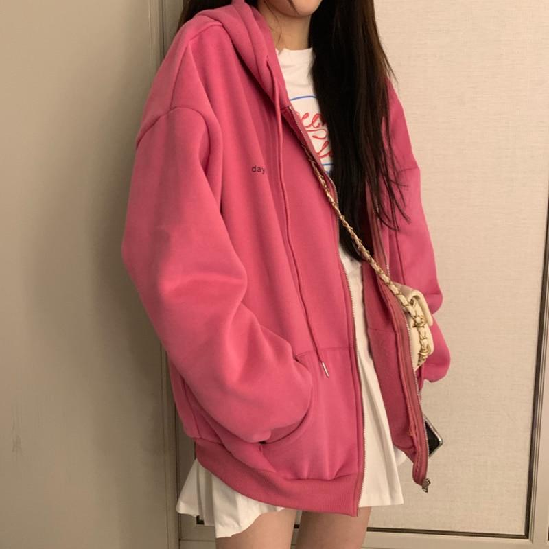 Summer 2021 Fashion Zip Up Cute Bear Sweetshirt Vintage Long Sleeve Spring Clothes Women Hoodies Coat Loose Harajuku Tops 13