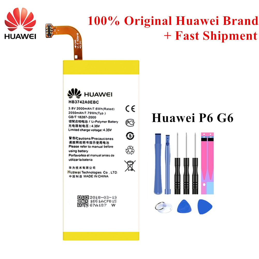 100% Original <font><b>Battery</b></font> <font><b>HB3742A0EBC</b></font> <font><b>Battery</b></font> For <font><b>Huawei</b></font> Ascend P6 G6 P6-U06 p6-c00 p6-T00 G620 G621 <font><b>G620s</b></font> G630 2000/2050mAh +Tools image