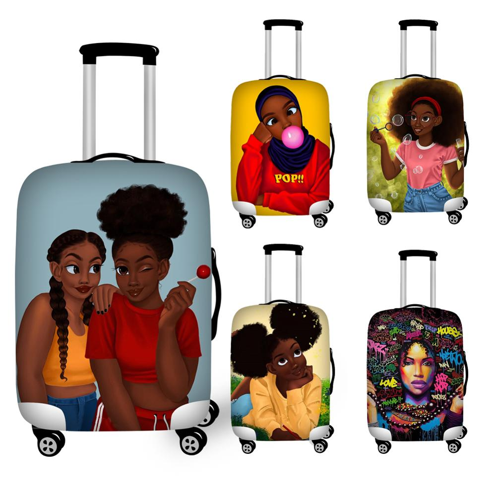 Nopersonality Black African Girl Luggage Cover Women Travel Accessories Elastic Trolley Case Suitcase Cover For 18-32 Inch