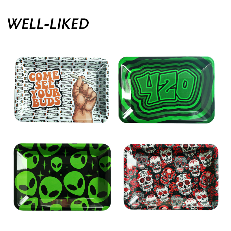2020 New Skull Metal Storage Trays Smoke Tobacco Herb Accessories Rolling Paper Tray Dish Tool Plate For Grinder Pipe Bandeja