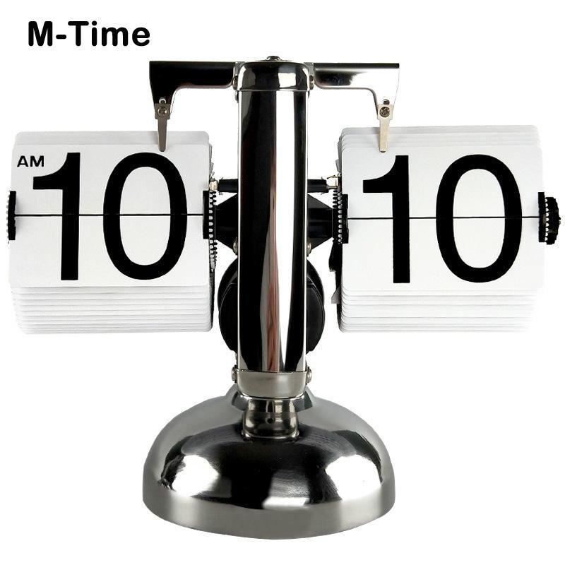 Digital Table Clock Small Scale Retro Flip Over Desk Clocks Stainless Steel Flip Internal Gear Operated Table Desktop Clock Gift