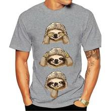 2021 moda 100% algodão o-pescoço t-camisa sloth ver ouvir falar nenhum mal