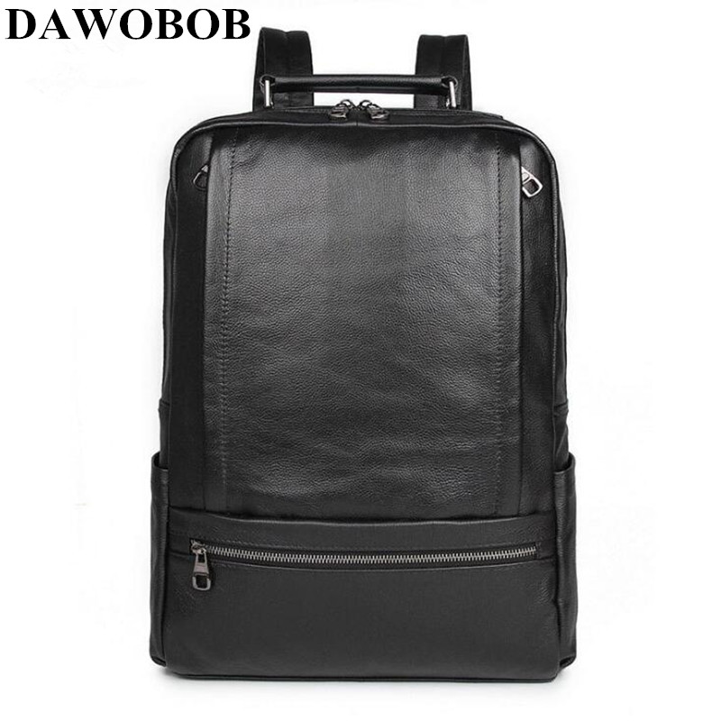 Genuine Leather Waterproof Backpack Classic Business Backpacks Capacity Students Laptop Bag Men Women Bags For 15-inch Laptop