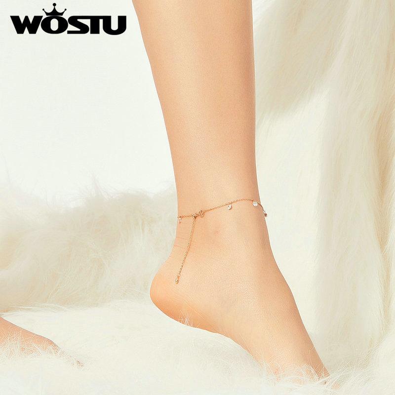 WOSTU Gold Anklet 100% 925 Sterling Silver Shining Zircon Fashion Barefoot Original Chain For Women Bracelet Jewelry FIT015