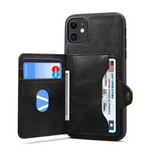 Newisdom Case For iPhone 11 pro max case Flip Leather cover Phone Wallet Card Slots Cases iPhone 11 case luxury bronw(China)