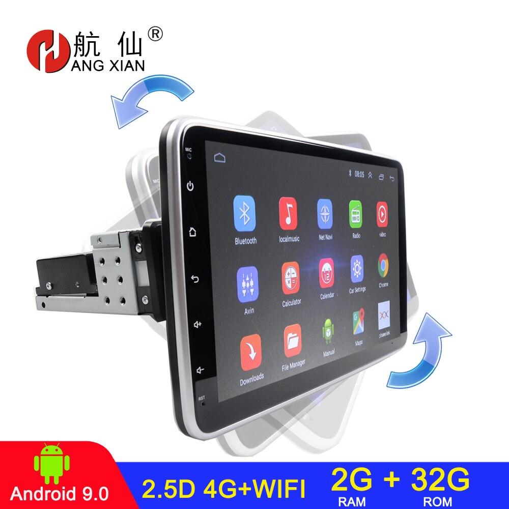 Поворотный Автомобильный мультимедийный плеер, 16/32 ГБ, 4 ядра, стерео для Android 9,1, с 360 градусами, вверх вниз экраном, GPS, Wi-Fi, радио плеер