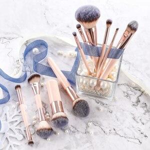 Image 4 - BBL 1 adet pembe makyaj fırçası Kabuki tozu fondoten allık çift uçlu heykel harmanlayan vurgulayıcı bulaşmaya göz farı burun fırça