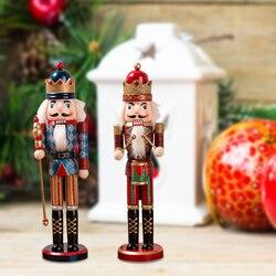 Puppet 38CM brokat w proszku Shimmer jasne drewno dziadek do orzechów świąteczne dekoracje do domu prezent vintage akcesoria rzemieślnicze w Figurki i miniatury od Dom i ogród na
