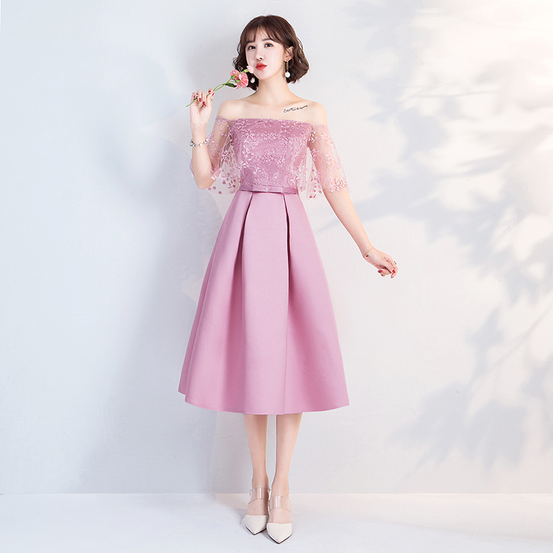 A-Line Pink Bridesmaids Dresses For Women Elegant Wedding Party Dress Prom Azul Royal Vestidos Boat Neck Embroidery Sexy Dress
