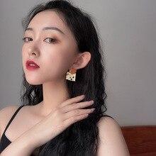 Metallic texture geometry square versatile hollow earrings round orange enamel irregular woman jewelry feale gifts