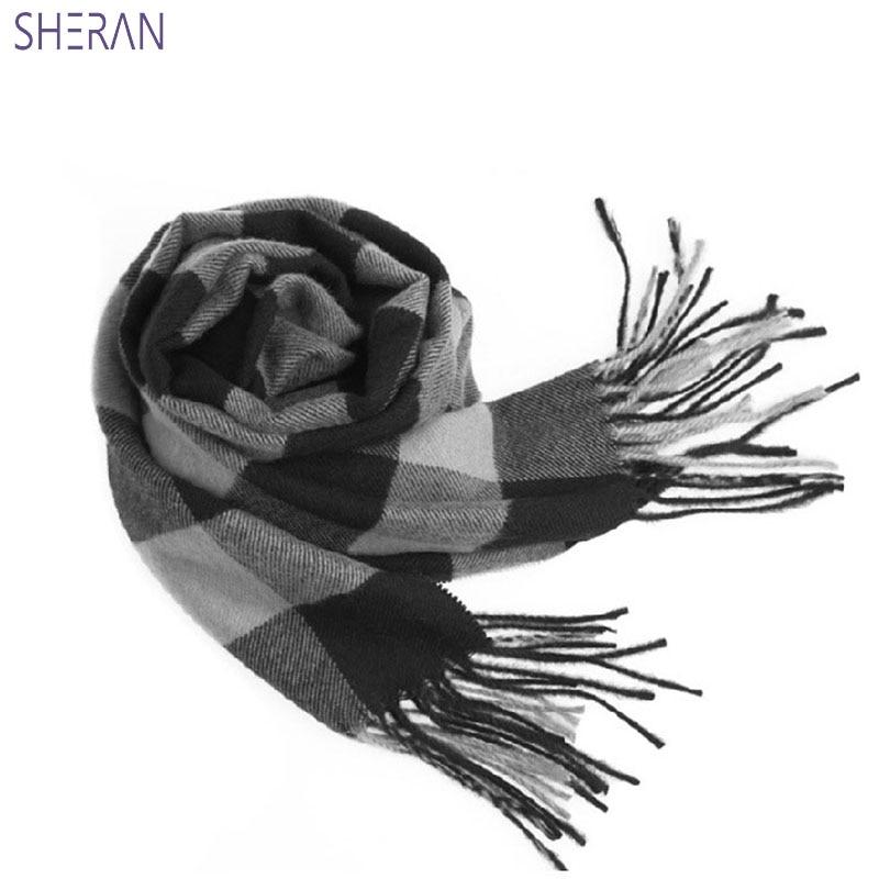2018 男性女性の秋の冬のウールの模造カシミヤ厚く両面愛好家スカーフ韓国版英国の格子縞のスカーフ