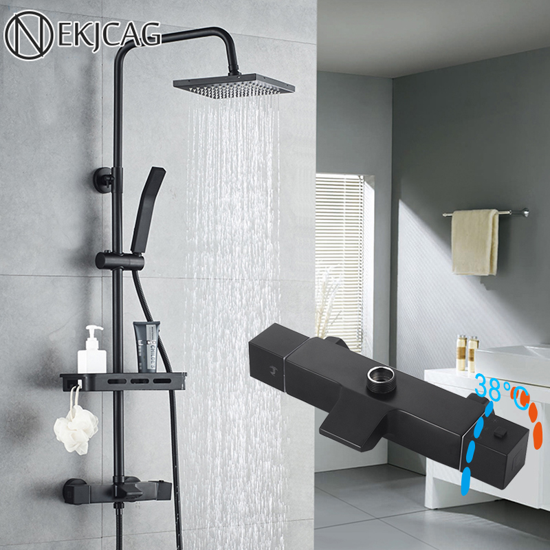 matte black bathroom shower set wall mounted thermostatic rainfall shower faucet 4 functions with shelf shower crane taps