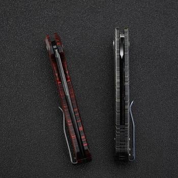 Petrified  fish PF949 K110 steel folding knife ceramic ball bearing flax handle outdoor EDC tool camping survival hunting knives 6
