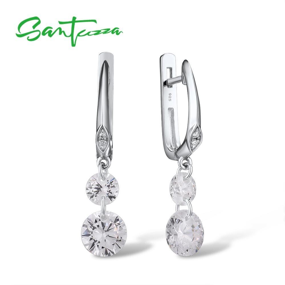 SANTUZZA Silver Earrings For Women Pure 925 Sterling Silver Sparkling White Cubic Zirconia Drop Earrings Elegant Fine Jewelry