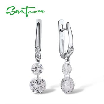SANTUZZA Silver Earrings For Women Pure 925 Sterling Silver Sparkling White Cubic Zirconia Drop Earrings Elegant Fine Jewelry santuzza silver earrings for women 925 sterling silver flower earrings silver 925 white cubic zirconia fashion jewelry enamel