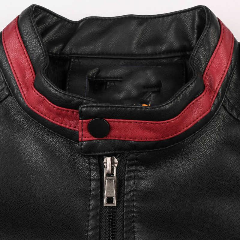 Jaqueta de couro masculina inverno outono gola masculina casaco de motocicleta dos homens plutônio fino se encaixa jaqueta