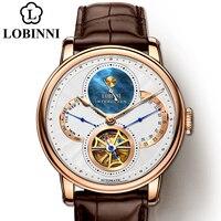 LOBINNI-Reloj de pulsera con esfera romana para hombre, de acero, masculino, con engranaje automático, mecánico, de cuero, 2020