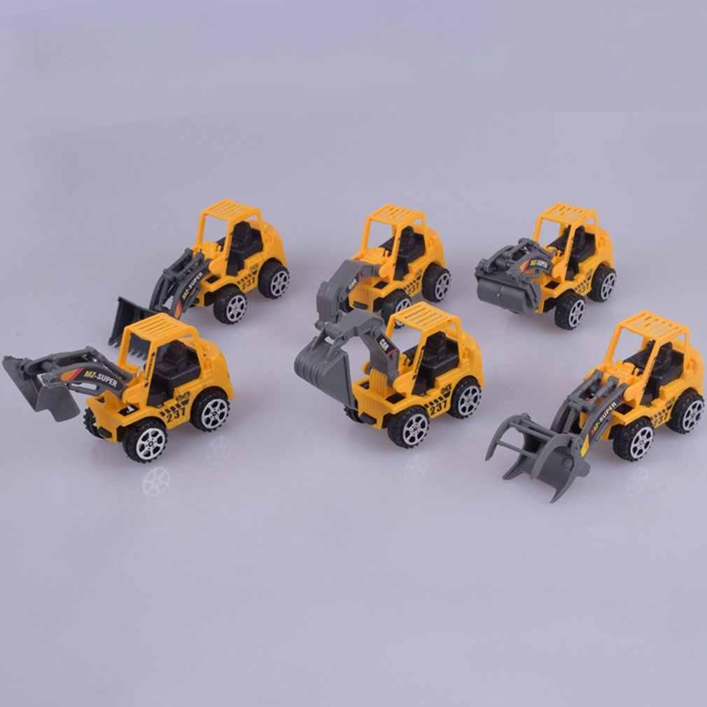 Hot 1PC Mini Teknik Kendaraan Mobil Truk Excavator Model Mainan Anak-anak Laki-laki dan Perempuan Pendidikan Diecast Plastik Mainan Konstruksi
