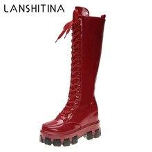 Женские сапоги до колена; Осенняя обувь на высоком каблуке для ночного клуба; сапоги на платформе из лакированной кожи; зимние высокие мотоциклетные женские ботинки