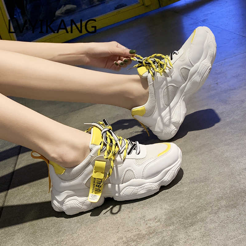 INS yeni 2020 ilkbahar ve sonbahar bayanlar vulkanize ayakkabı vahşi nefes örgü moda baba ayakkabı Zapatos De Mujer artı boyutu 40