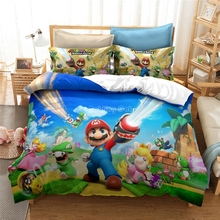 Home Textile Cartoon 3d Mario Bro Duvet Cover Set Au Us Eu Twin Full Queen King Size Bed Linen Set Kids Children Bedding Sets