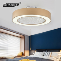 55 cm Macaron Ceiling fan lamp Intelligent remote control AC motor modern restaurant bedroom with light 220Vdimming lovely fans