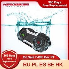 HEROBIKER Motorcycle Intercom Waterproof Bluetooth Helmet Headset Helmet Speaker Moto Headset Wireless Intercomunicador 1200M
