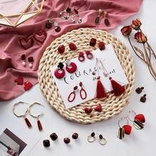 MENGJIQIAO Nuovo Stile di Inverno Vintage Red Nastro Elegante Nappa Lunga Ciondola Gli Orecchini Per La Ragazza Brinco Smalto Goccia Pendientes Regalo
