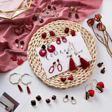 Женские длинные висячие серьги mengjiqiao новые винтажные красные