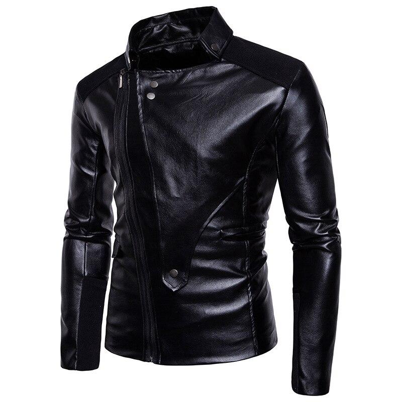 2018 New Style Men Hot Selling Zipper Solid Color Men Fold-down Collar Cool Placket Versatile Locomotive Leather Coat