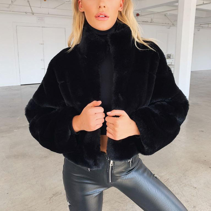 Fashion Women Winter Solid Color Fluffy Coat Stand Collar Long Sleeve Concealed Button Faux Fur Thick Short Jacket Streetwear