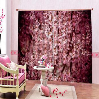 Custom 3D Bathroom Shower Curtain Pink Flowers Curtains Living room bedroom blackout curtain