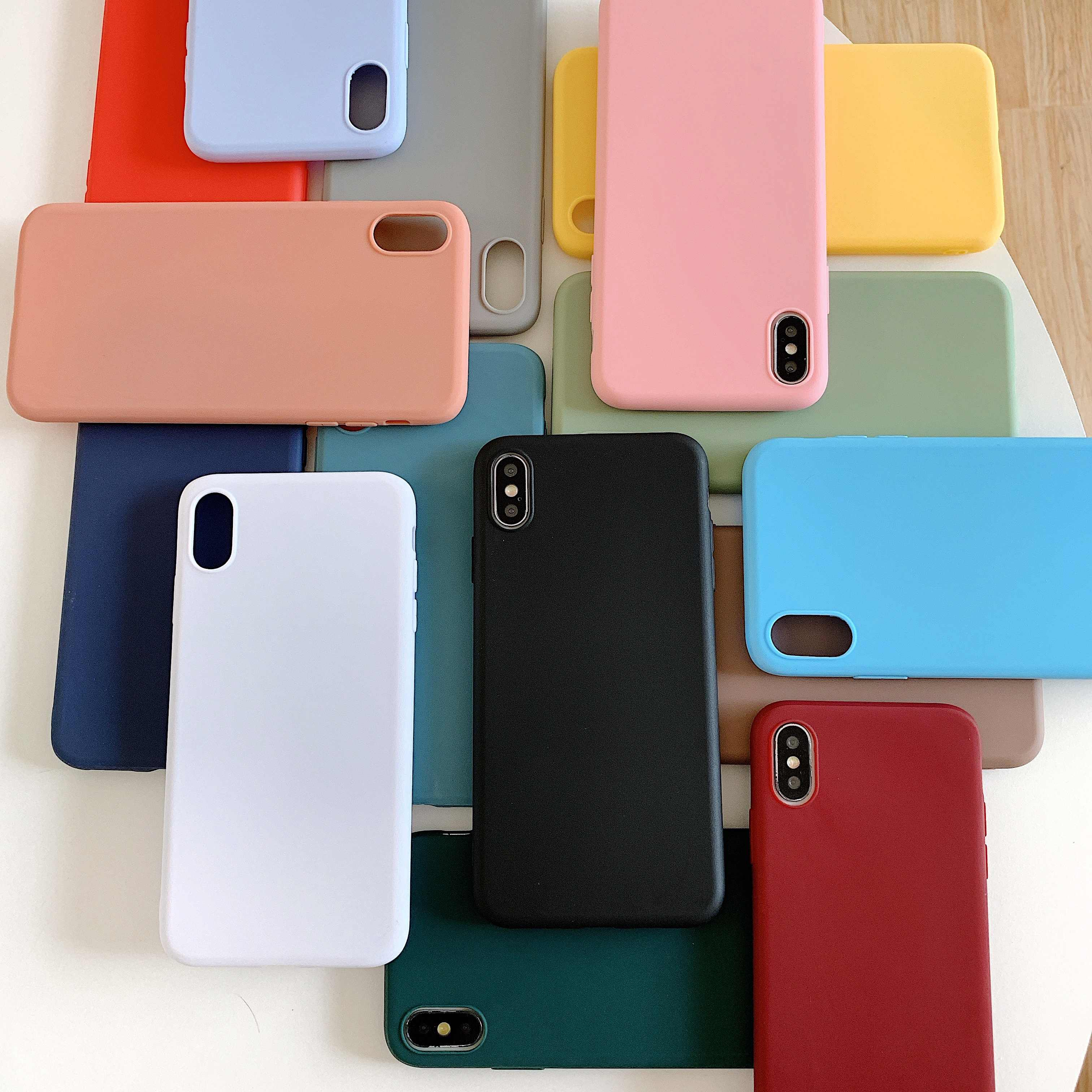 Luxe Candy Soft Silicone Cover Voor Iphone 6 6S 7 8 Plus X Xs Xr Max S 11 Pro Max 11Pro voor Samsung S10 S9 S8 Plus + Telefoon Geval