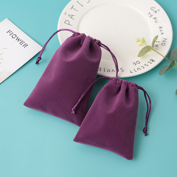 50Pcs/lot Velvet Bag Jewelry Packing Gift Drawstring Pouches  5x7cm 7x9cm 8x10cm 9x12cm Coloful Bags Can Customized