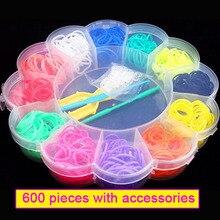 Bracelet Loom Rubber-Bands Toys Diy Girl Kids Children 600pcs Gum-Make Gift Colorful