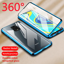360 Magnetic Metal Tempered Glass Case For Xiaomi Redmi Note 9 8 7 K20 K30 CC9 Pro 9S 10X Mi 9T F1Double Sided Adsorption Cover(China)