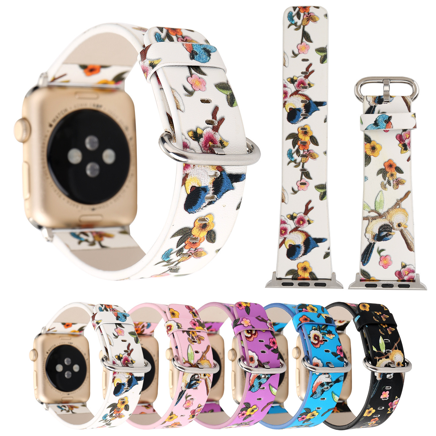 For Apple Watch The Sound Of Birds And The Fragance Of Flowers Leather Watch Strap APPLE Watch3 Watch Strap IWatch Leather Watch