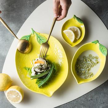 Europejskiej kształt cytryny płytki talerz kreatywny śliczne sosjerka ceramiczne zastawa stołowa do kuchni deser talerz śniadaniowy zupy ryżu miska tanie i dobre opinie liść Stałe