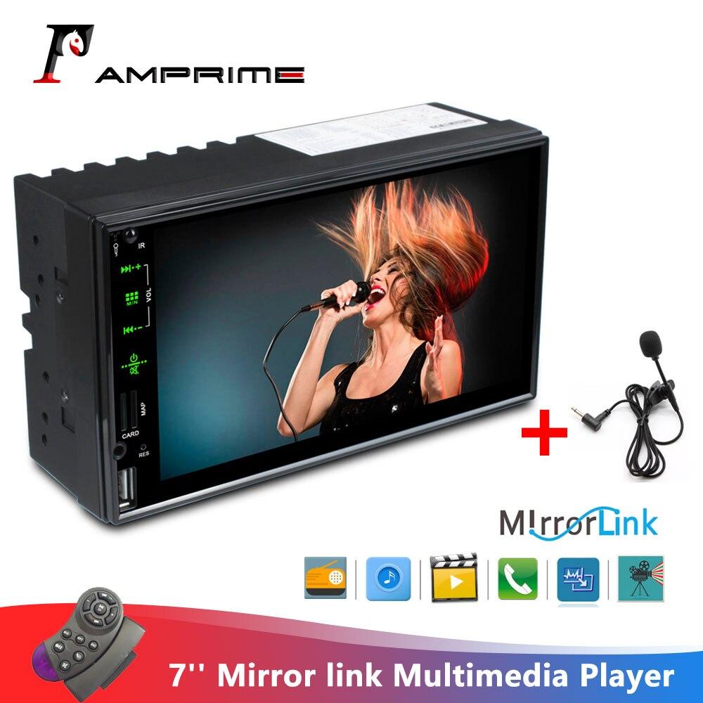 AMPrime Autoradio 2 Din 7 ''lecteur multimédia voiture miroir link MP5 Bluetooth avec Microphone radios FM moniteur de sauvegarde